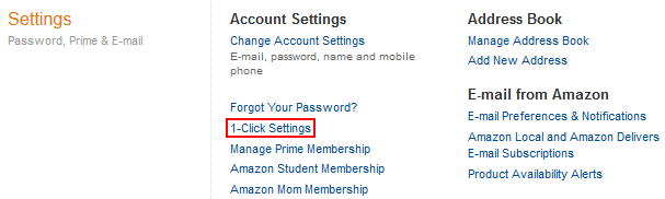 Amazon One-Click Ordering settings