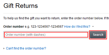 Input Amazon Gift order number