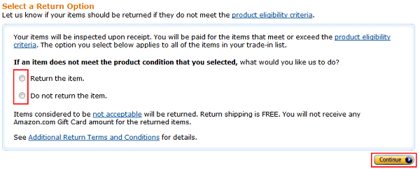 Choose to return items