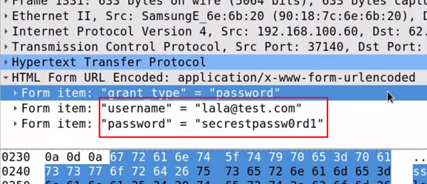 KRACK attack accessing a username and password