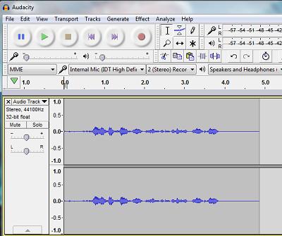 Audacity sound recording program screenshot