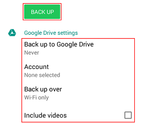 WhatsApp backup messages menu and available settings