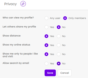 Edit Badoo privacy settings