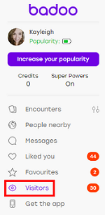 Badoo Visitors feature