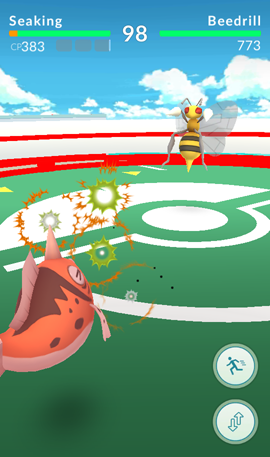 A battle at a Pokémon Go Gym