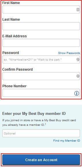 BestBuy.com account creation form