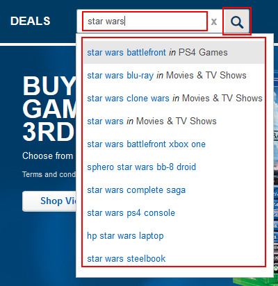 Using the BestBuy.com search box