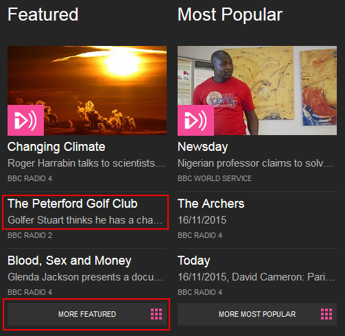 Access featured and popular content on BBC iPlayer Radio