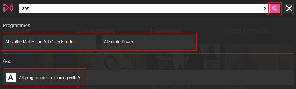 BBC iPlayer Radio search suggestions