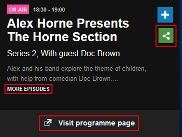 How to share or find more information on the current BBC iPlayer Radio app program