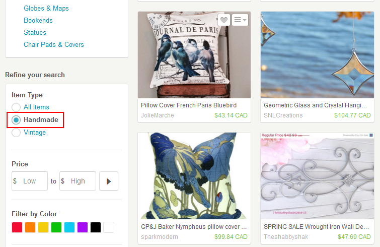 Browsing handmade-class items on Etsy