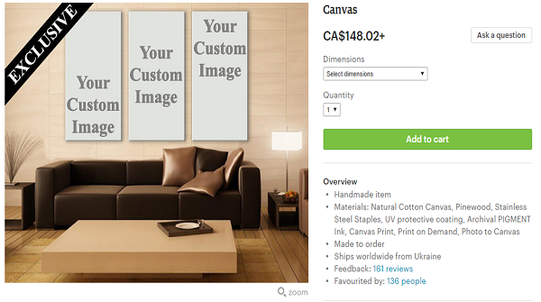Buy canvas prints from Etsy