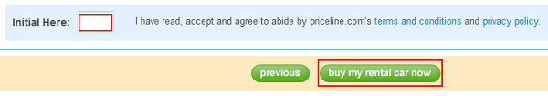 Car rental bidding confirmation button