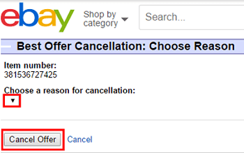 Indicate reason for cancelling Best Offer