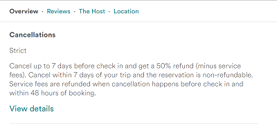 Airbnb cancellation information