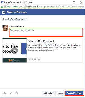 Facebook post box and Share button