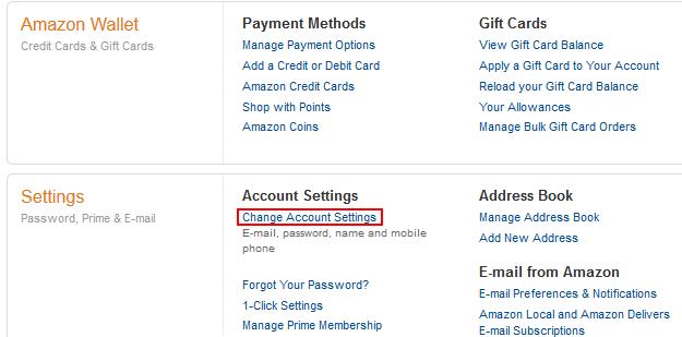 Amazon change password form