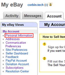 eBay Personal Information settings