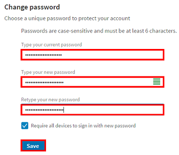 Form to change LinkedIn password