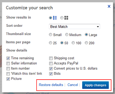 Click Apply Changes to change the way your results are displayed