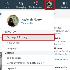 LinkedIn settings menu