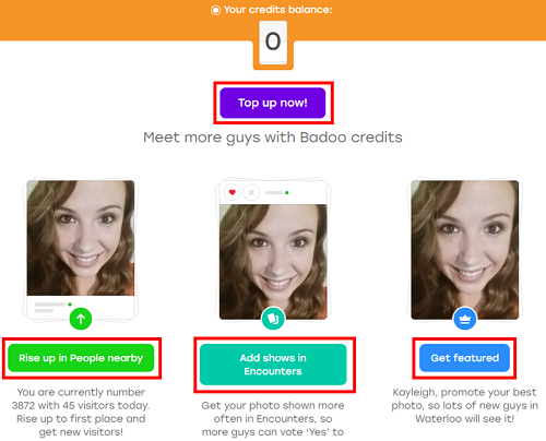 Badoo paid features screen