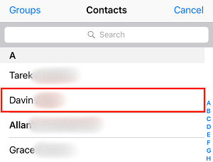 Select a contact to block