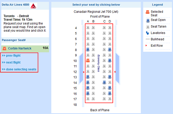 Flight seat options screen