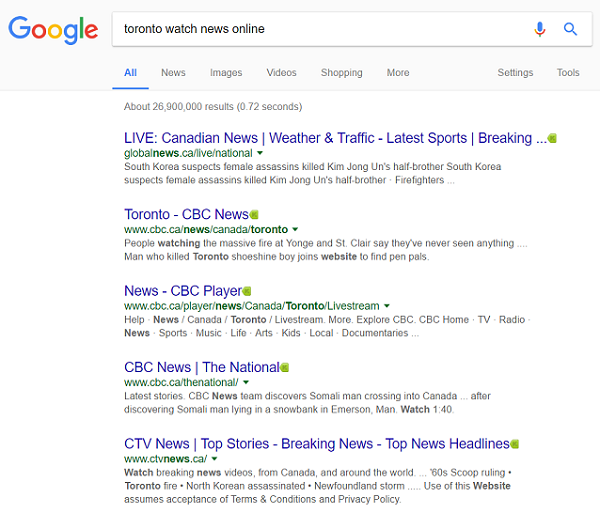 Google search results for local news online