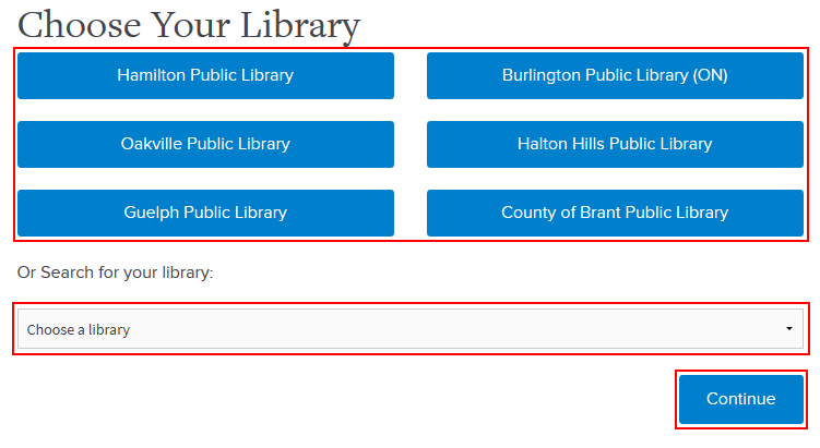 Selecting your library to log into Hoopla through