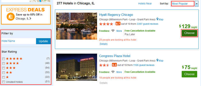 Choose a hotel by clicking on it