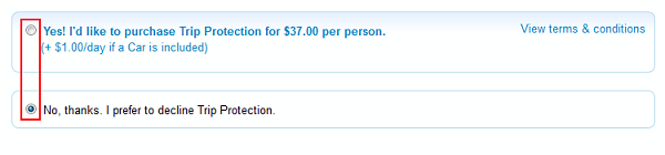 Priceline insurance options