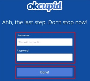 Choose an OkCupid username and password