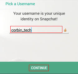 Choose Snapchat username