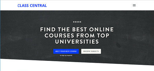 Class Central homepage