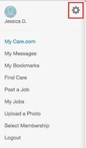Care.com settings