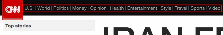 CNN.com news categories