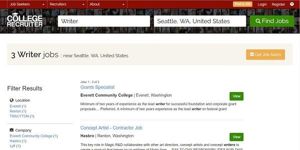 College Recruiter website