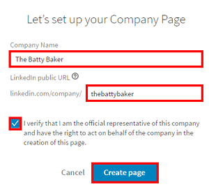 Create new Company Page form