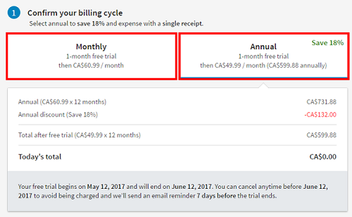 Confirm your billing cycle