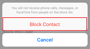 Block Contact button