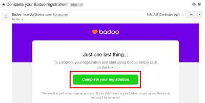 Badoo email confirmation