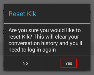 How to confirm the reset of your Kik account