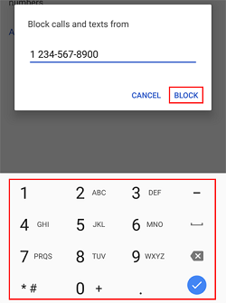 Phone number blocking confirmation screen