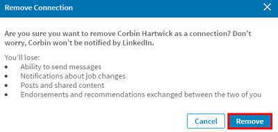 Confirm you want to delete a LinkedIn contact