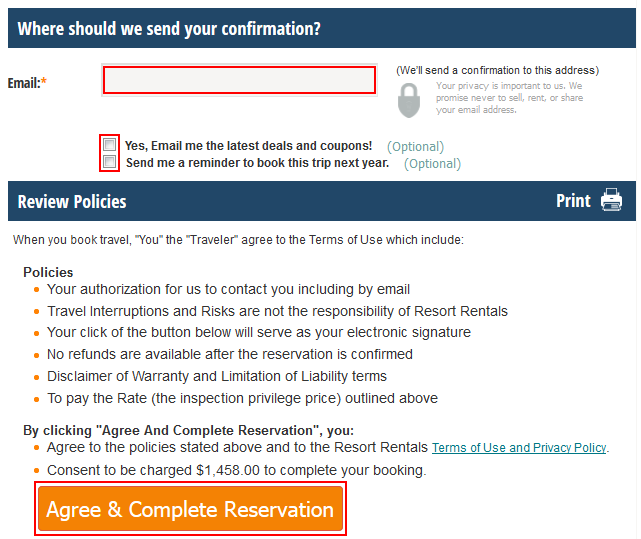 Confirming the booking of your timeshare rental