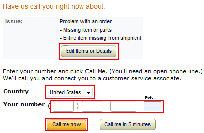 Contact Amazon by phone