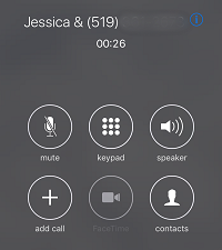 iPhone call screen