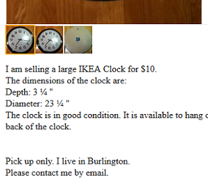Example of a listing for a clock on Craigslist