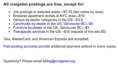 Craigslist postings that are not free